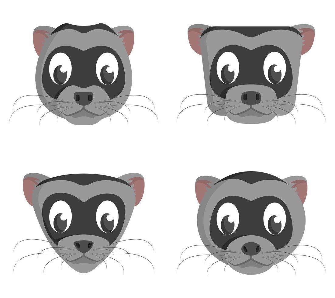 set di furetti dei cartoni animati. diverse forme di teste di animali. vettore