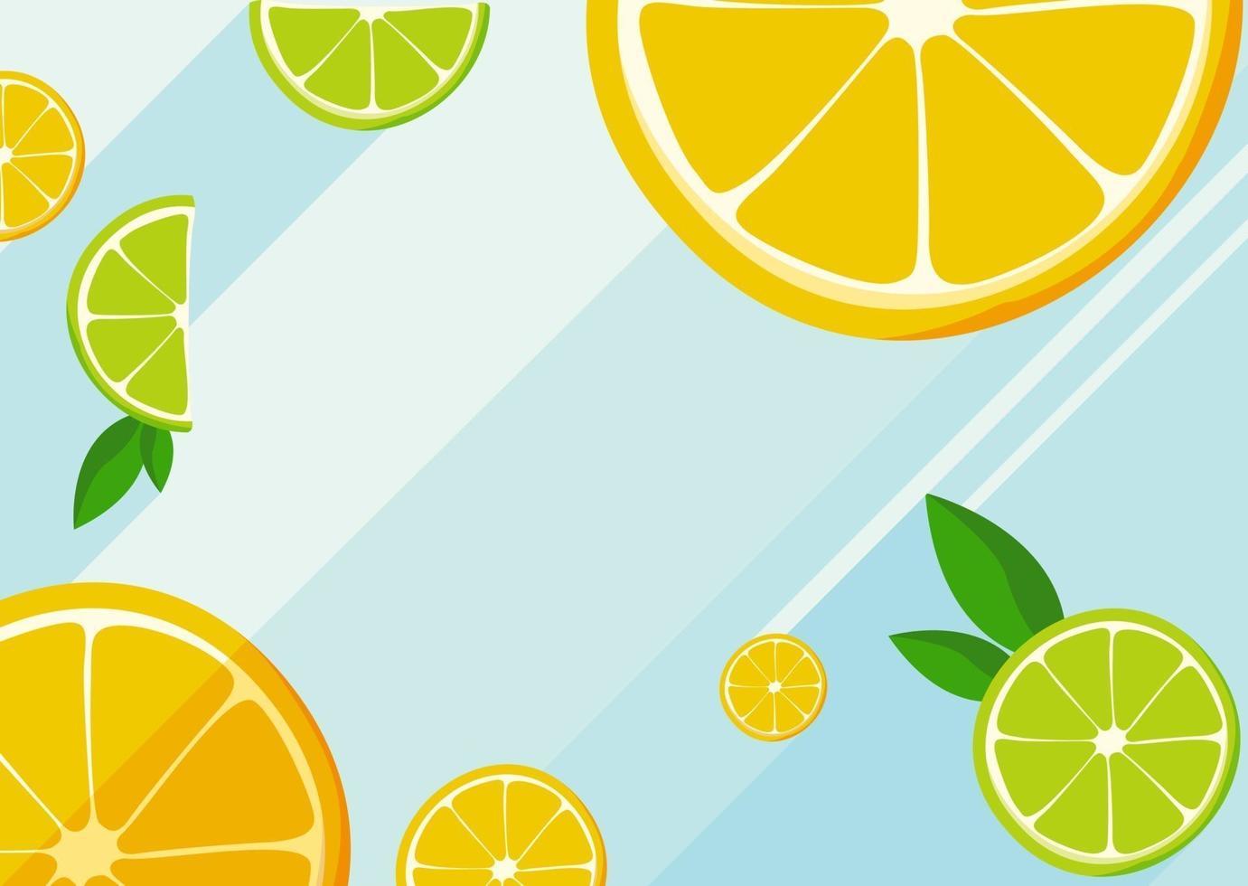 modello di banner con fette di arancia e lime. vettore