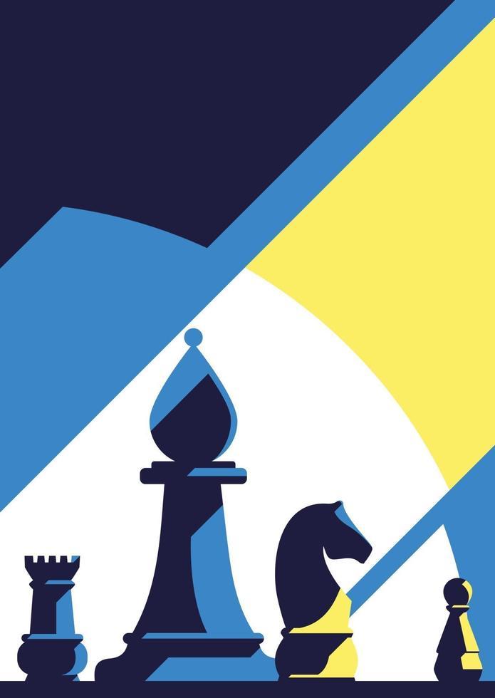modello di poster con diversi pezzi degli scacchi. vettore