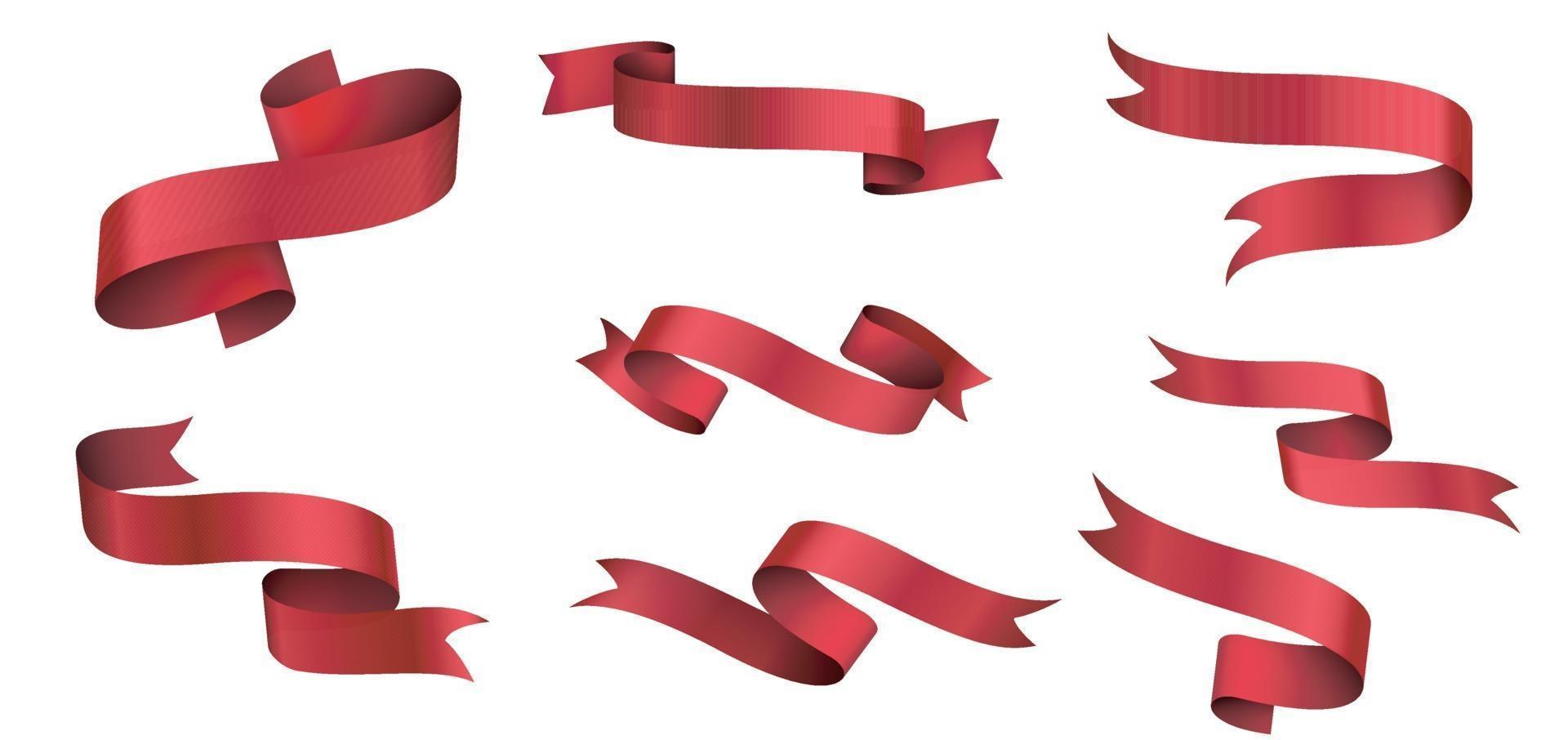 banner e fiocco, nastro rosso dritto isolato su sfondo bianco illustrazione vettore