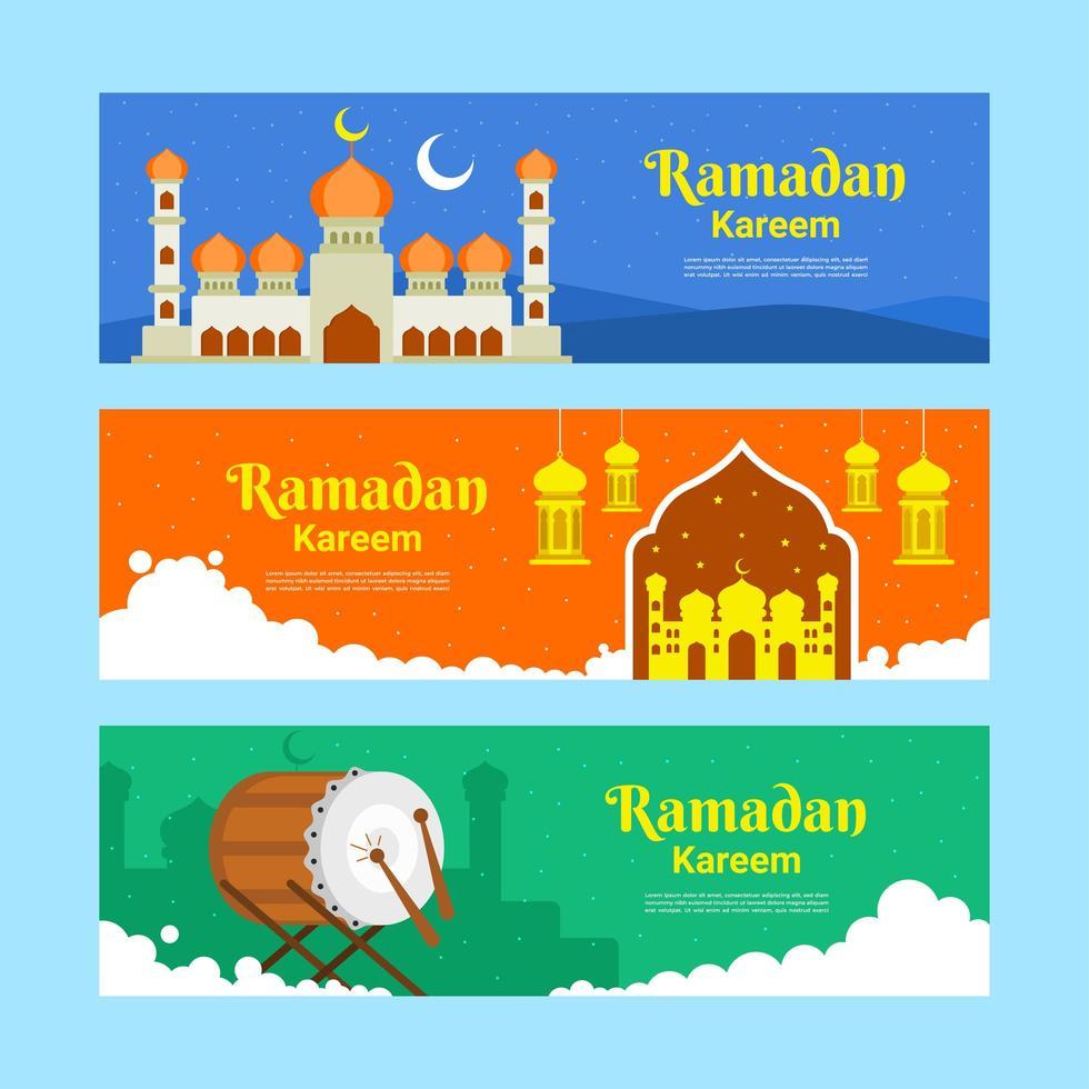 set di banner di ramadan kareem vettore