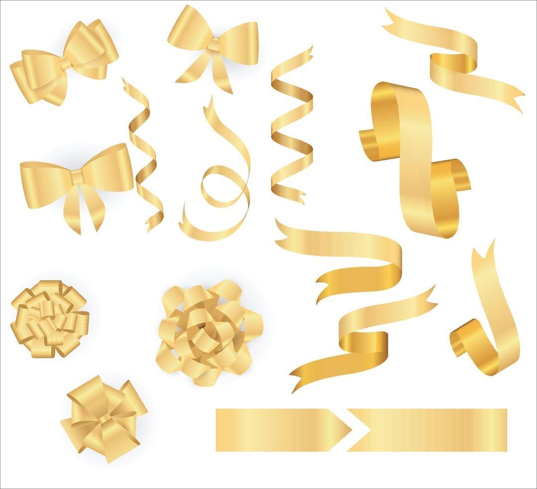 collezione di nastri d'oro. arco giallo realistico di vettore con ombra isolata su bianco. decorazioni natalizie
