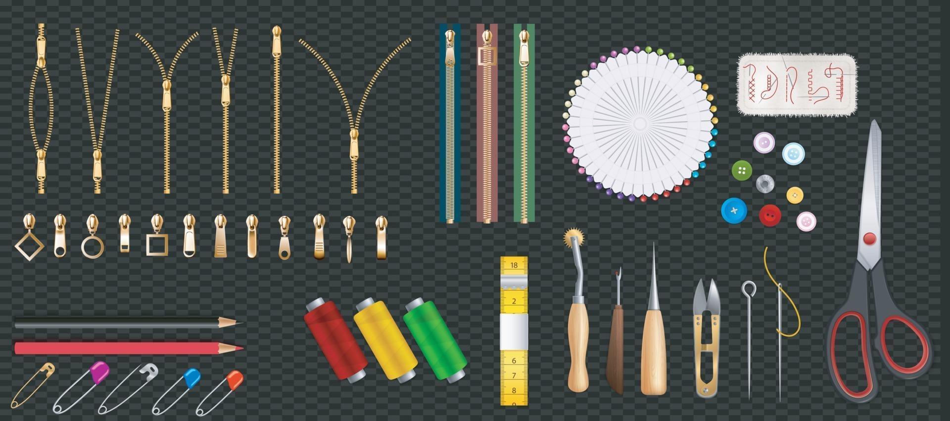 set di cerniera in metallo e plastica isolato su sfondo trasparente. chiudere e aprire posizioni. illustrazione vettoriale. accessorio di abbigliamento. vettore