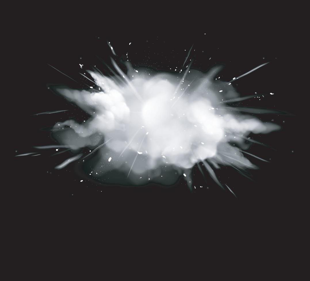 fumo bianco, esplosione di polvere con particelle, vettore