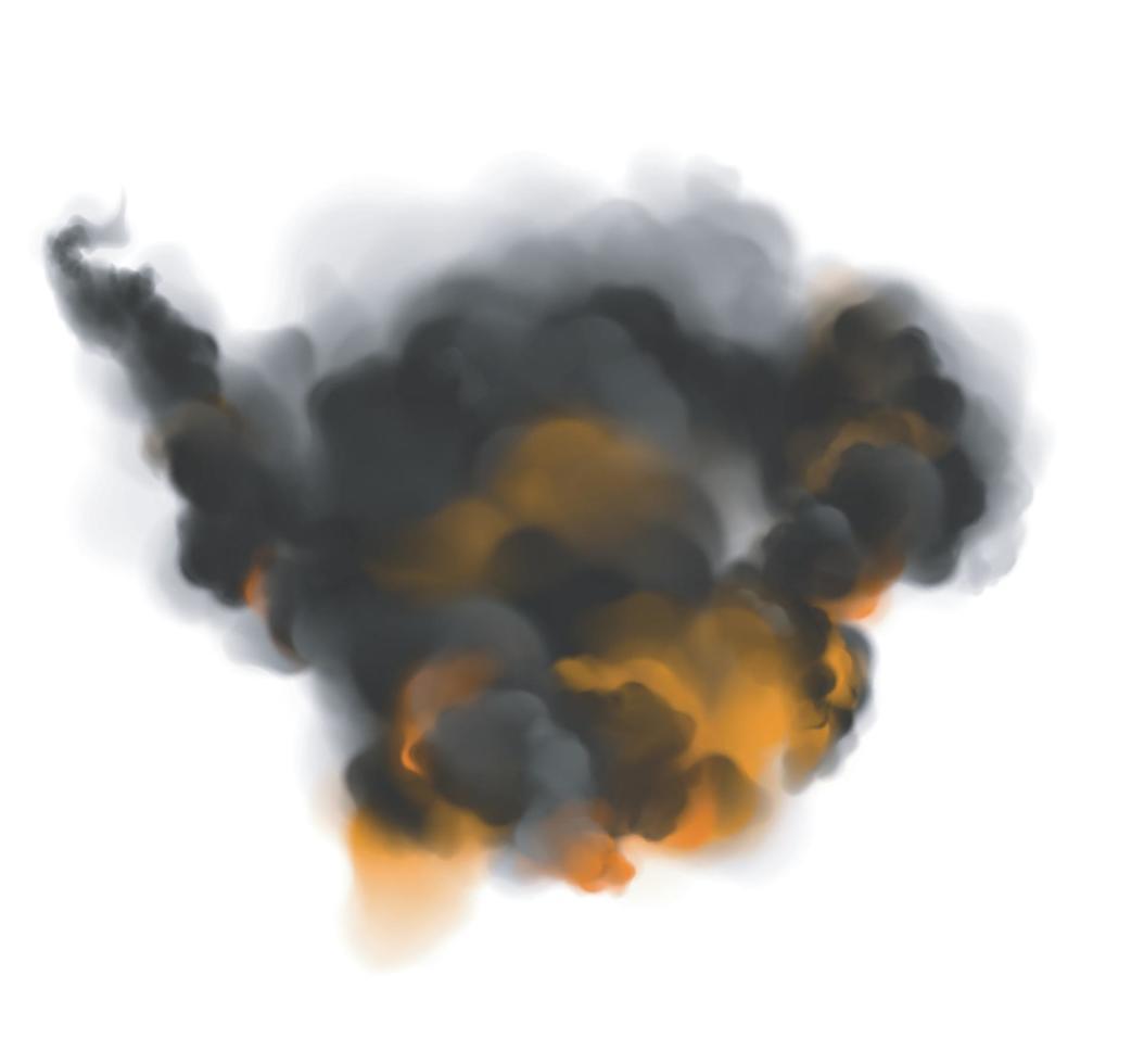 fumo nero nuvoloso con retroilluminazione arancione dal fuoco. vettore
