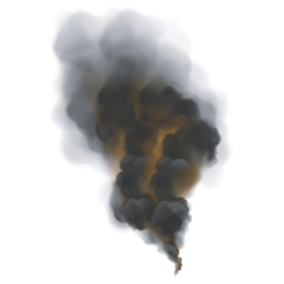 fumo nero con retroilluminazione arancione dal fuoco. vettore
