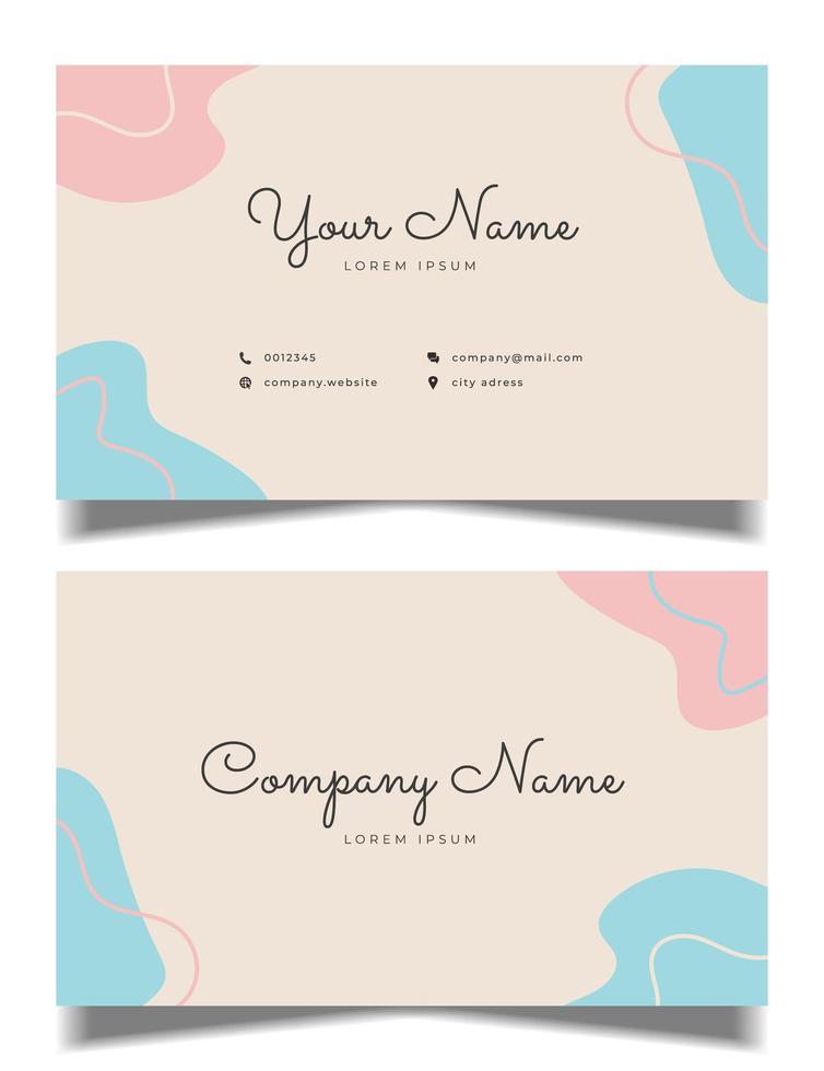 design pulito biglietto da visita con colori pastello vettore