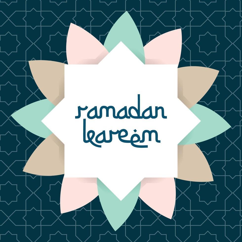 biglietto di auguri di ramadan kareem con cornice vettoriale ornamento islamico