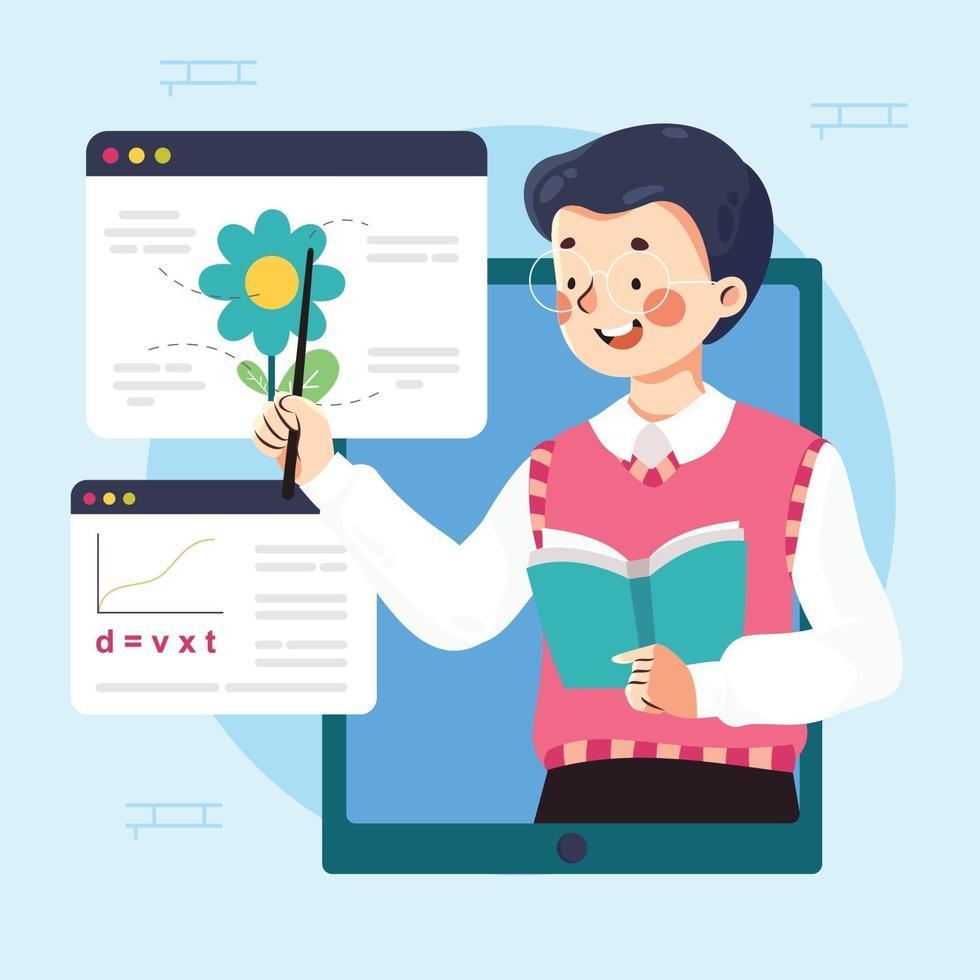 progettazione del concetto di apprendimento online vettore