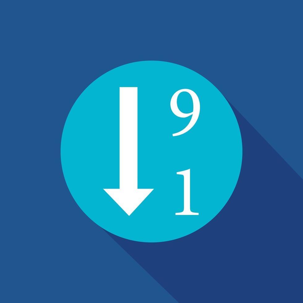 ordina per simbolo dell'icona di vettore numerico