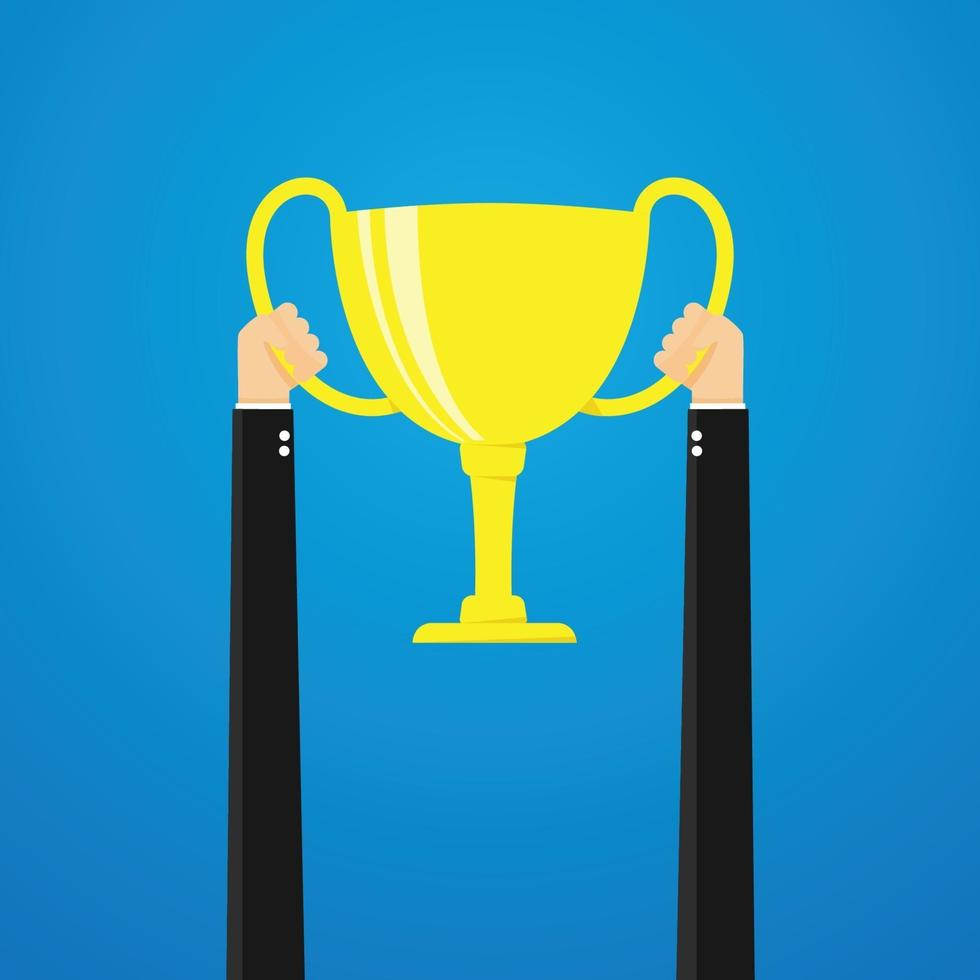 trofeo della holding dell'uomo d'affari. illustrazione vettoriale