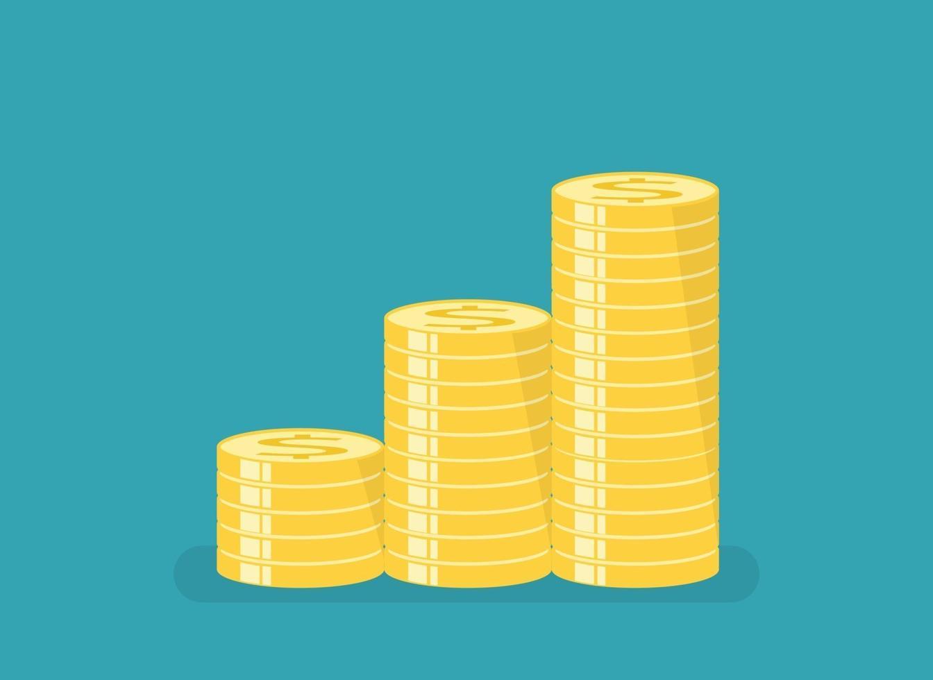monete d'oro con ordinamento a gradini. illustrazione vettoriale