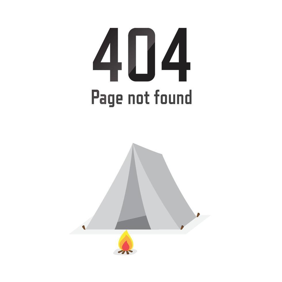 pagina non trovata errore 404. soggiorno in tenda. illustrazione vettoriale