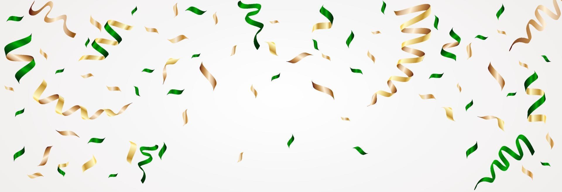 nastro e bolla festa verde e glod per capodanno, natale, compleanno su disegno vettoriale. vettore