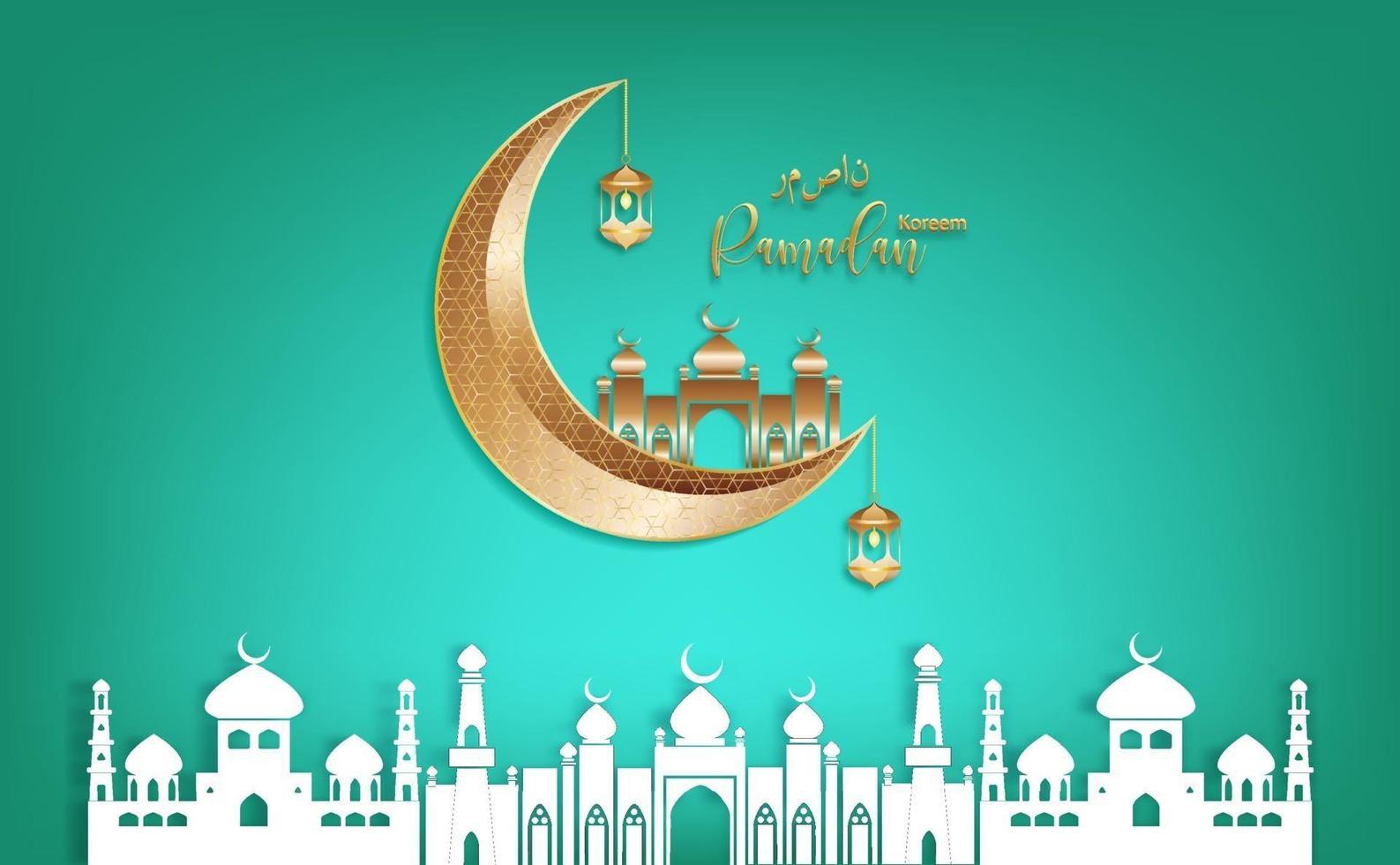 eid mubarak ramadan kareem vettore che desidera per il festival islamico su sfondo verde.
