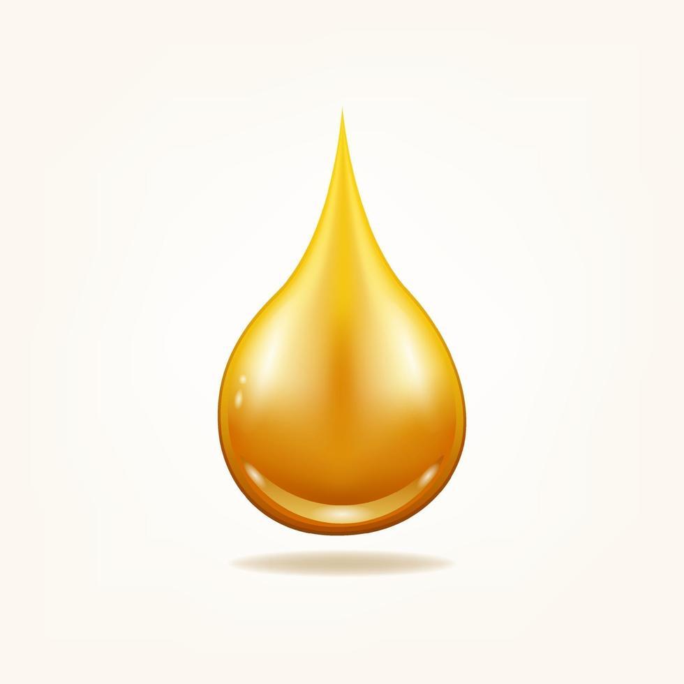 goccia di olio biologico. gocciolina liquida gialla. vettore