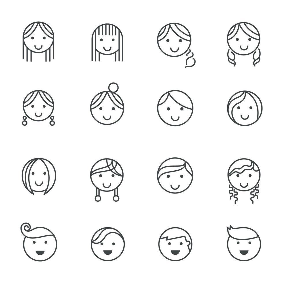 icone di linea di emozioni di acconciature. illustrazione vettoriale