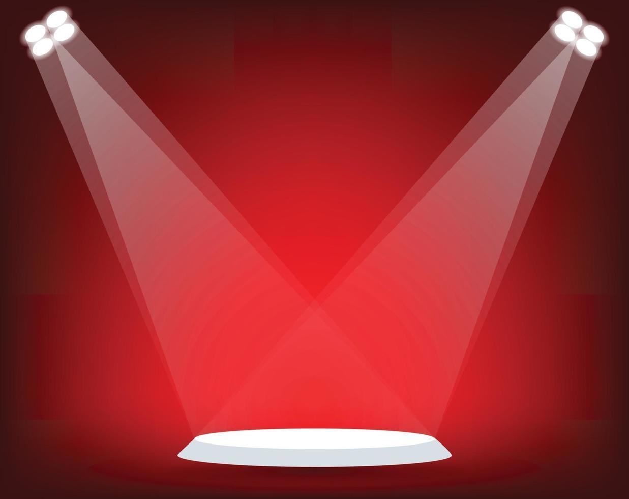 stand con riflettori su sfondo rosso. illustrazione vettoriale