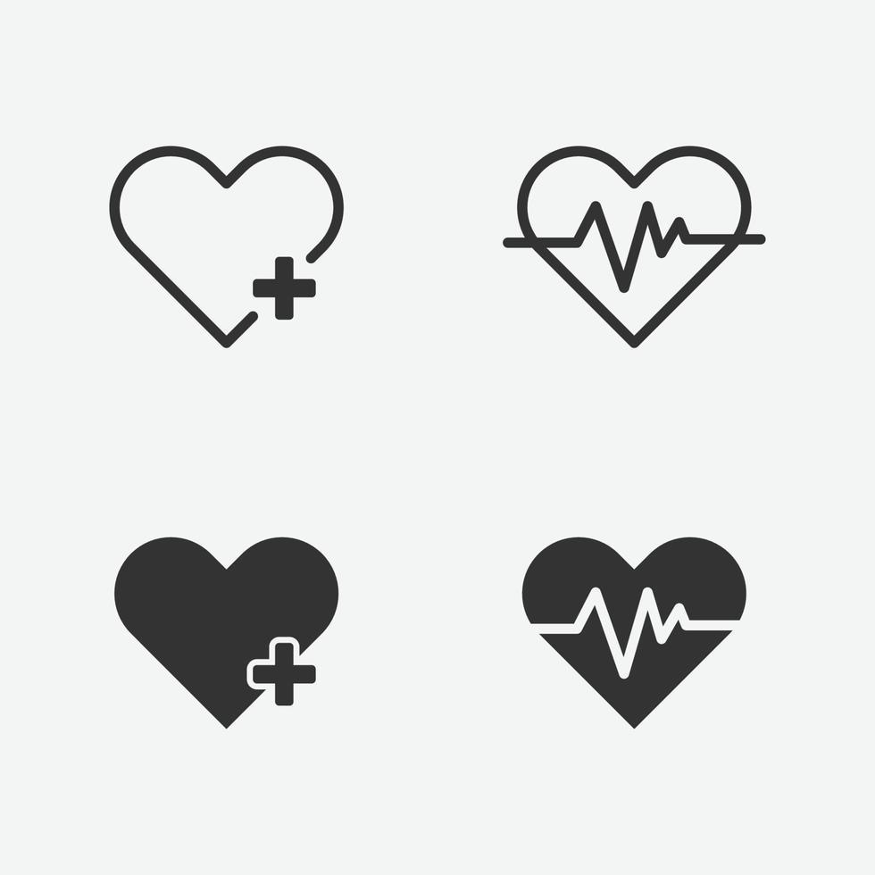 insieme dell'icona isolata di vettore del cuore medico per il web