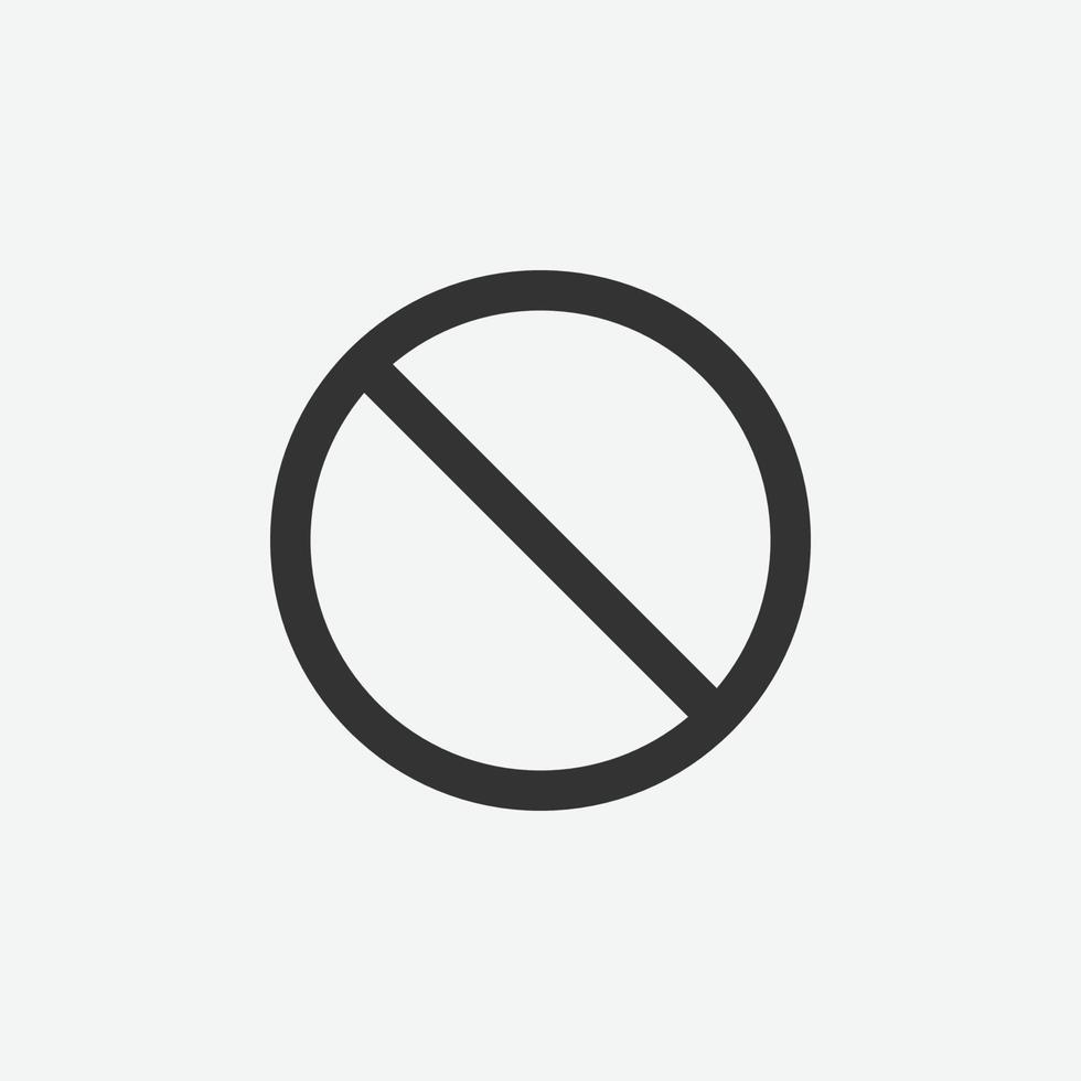 nessuna icona del segno per il sito Web e l'app mobile vettore