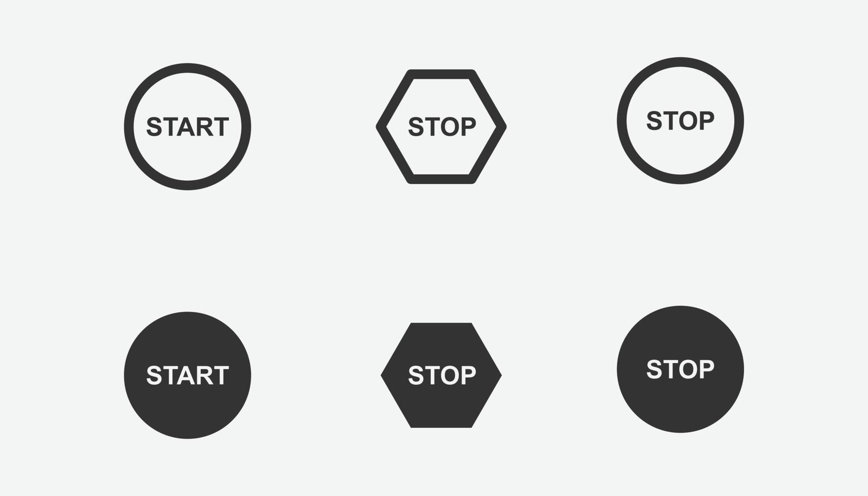 set di icone di avvio e arresto per grafica, sito Web e design mobile vettore