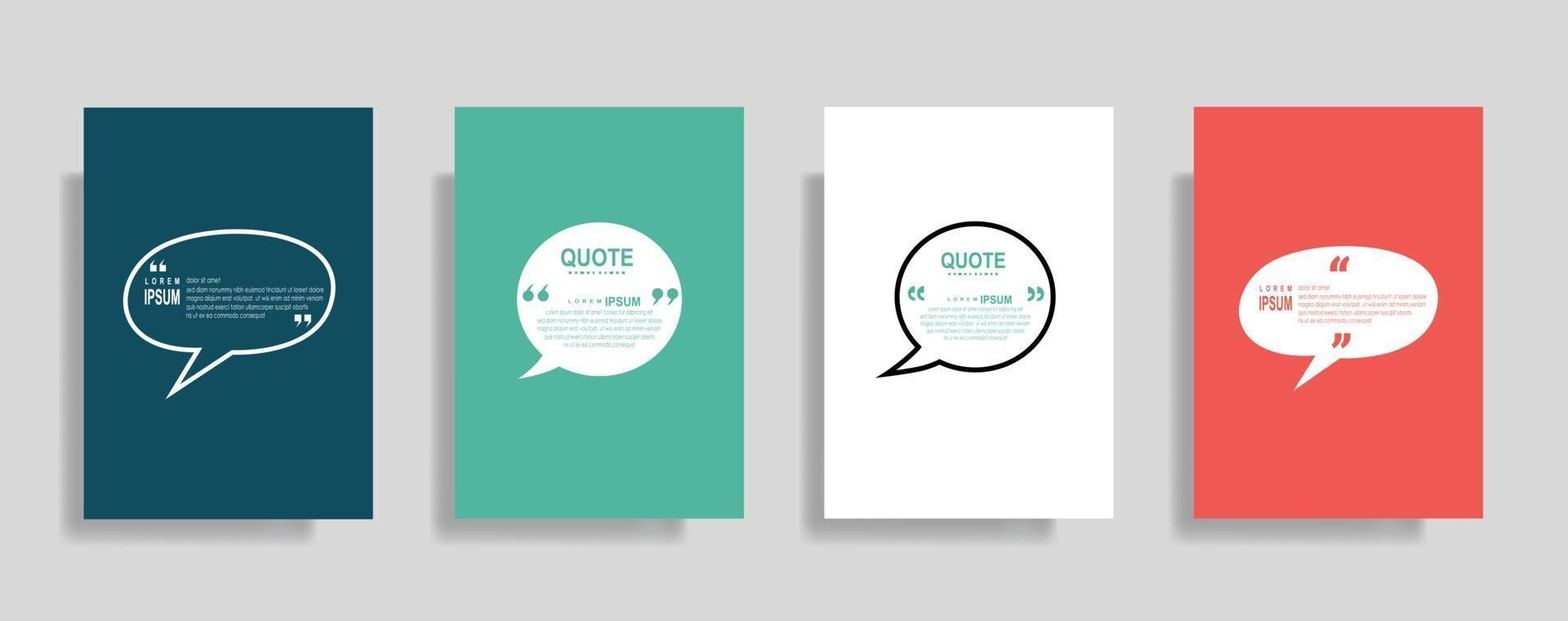 citazioni cornice modelli vuoti impostati, testo tra parentesi, citazioni fumetti vuoti. testo bos isolato su sfondo colorato. vettore