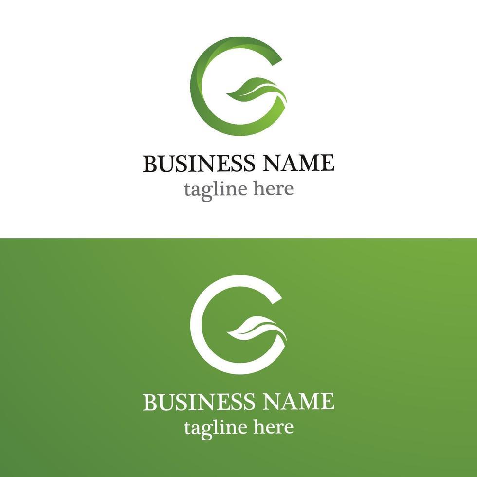 modello di logo foglia lettera g vettore