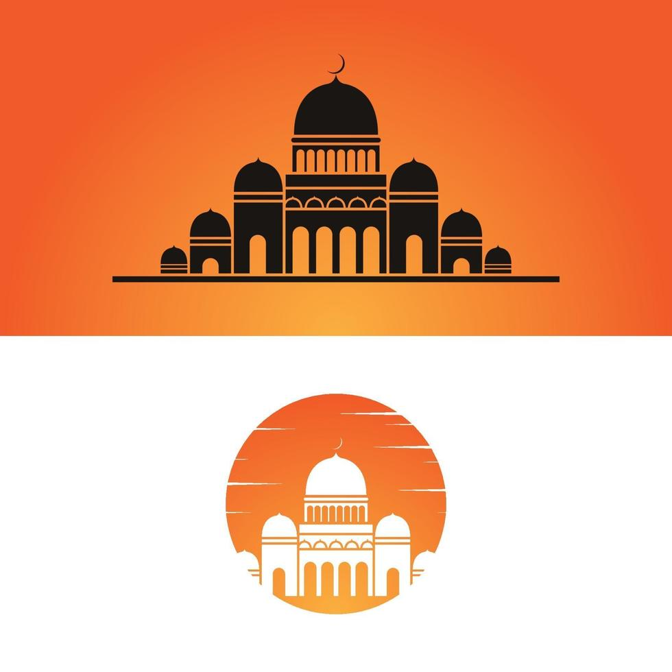 moschea logo icona design vettore