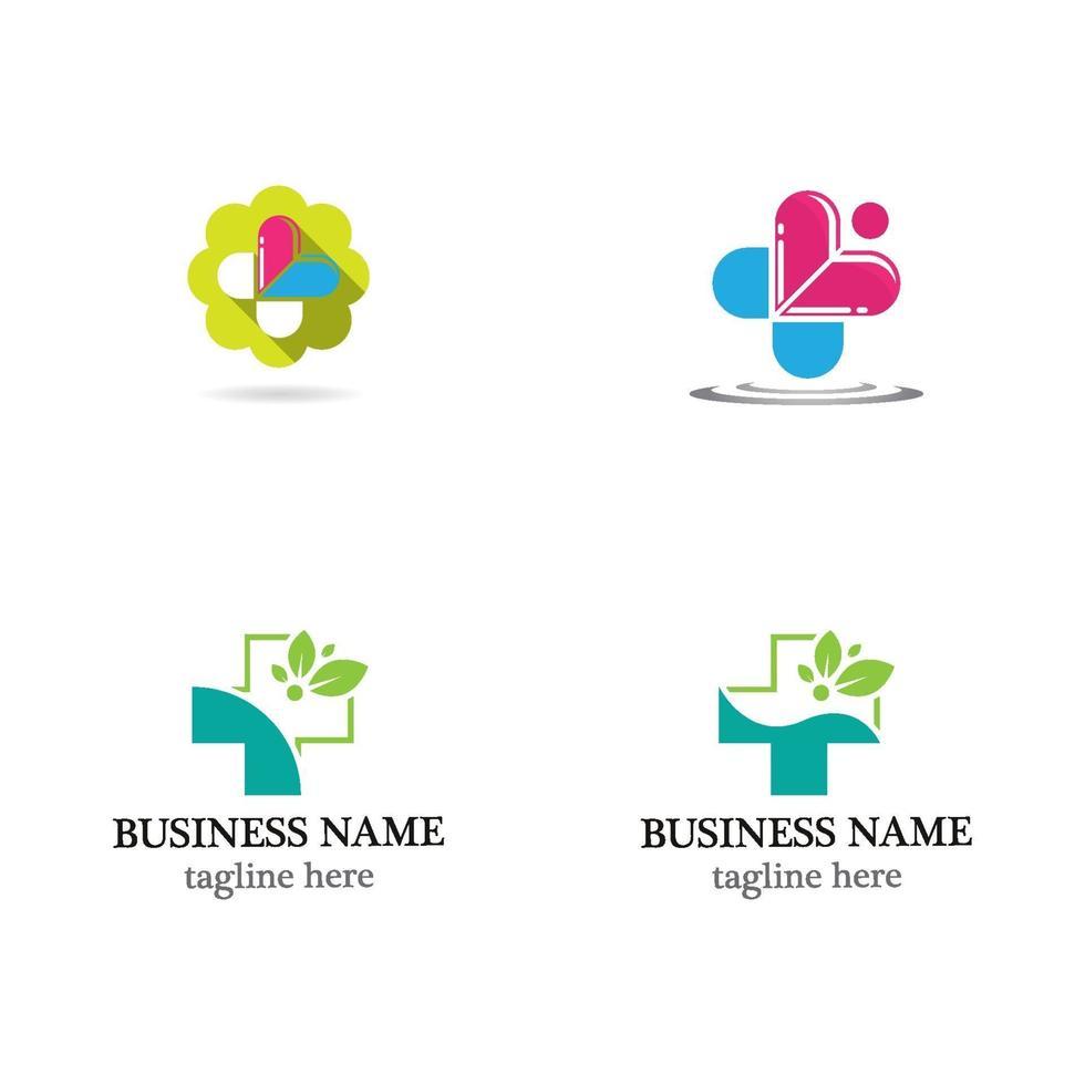set di icone logo medico sanitario vettore