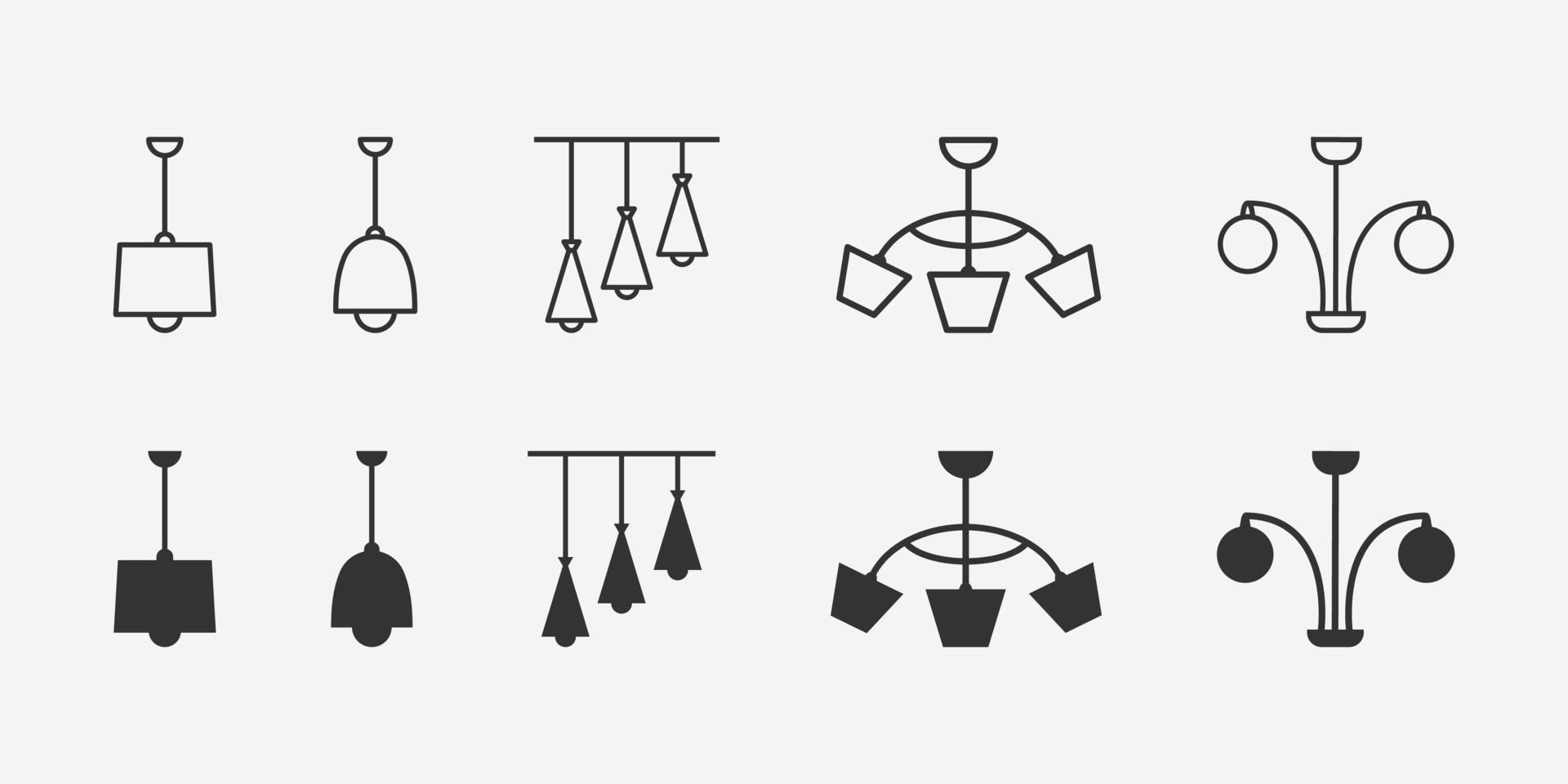 illustrazione vettoriale di set di icone isolato lampadario.