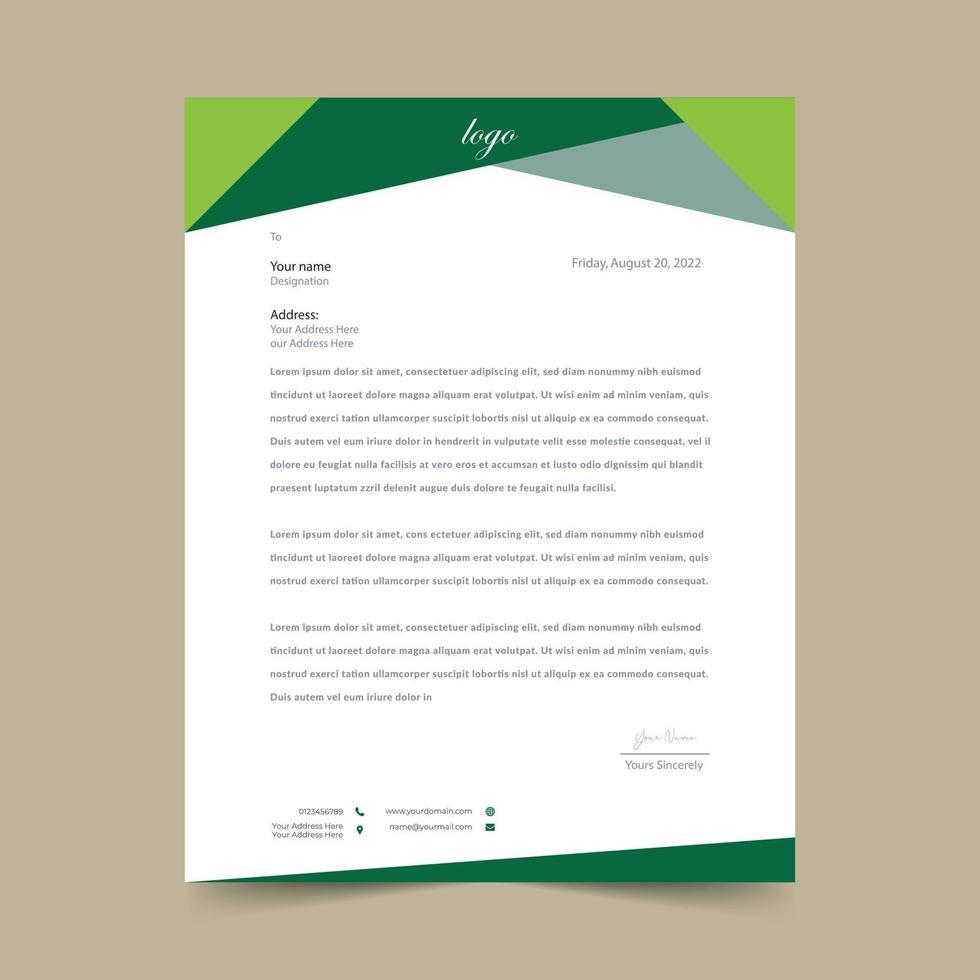 modello di progettazione carta intestata carino verde vettore