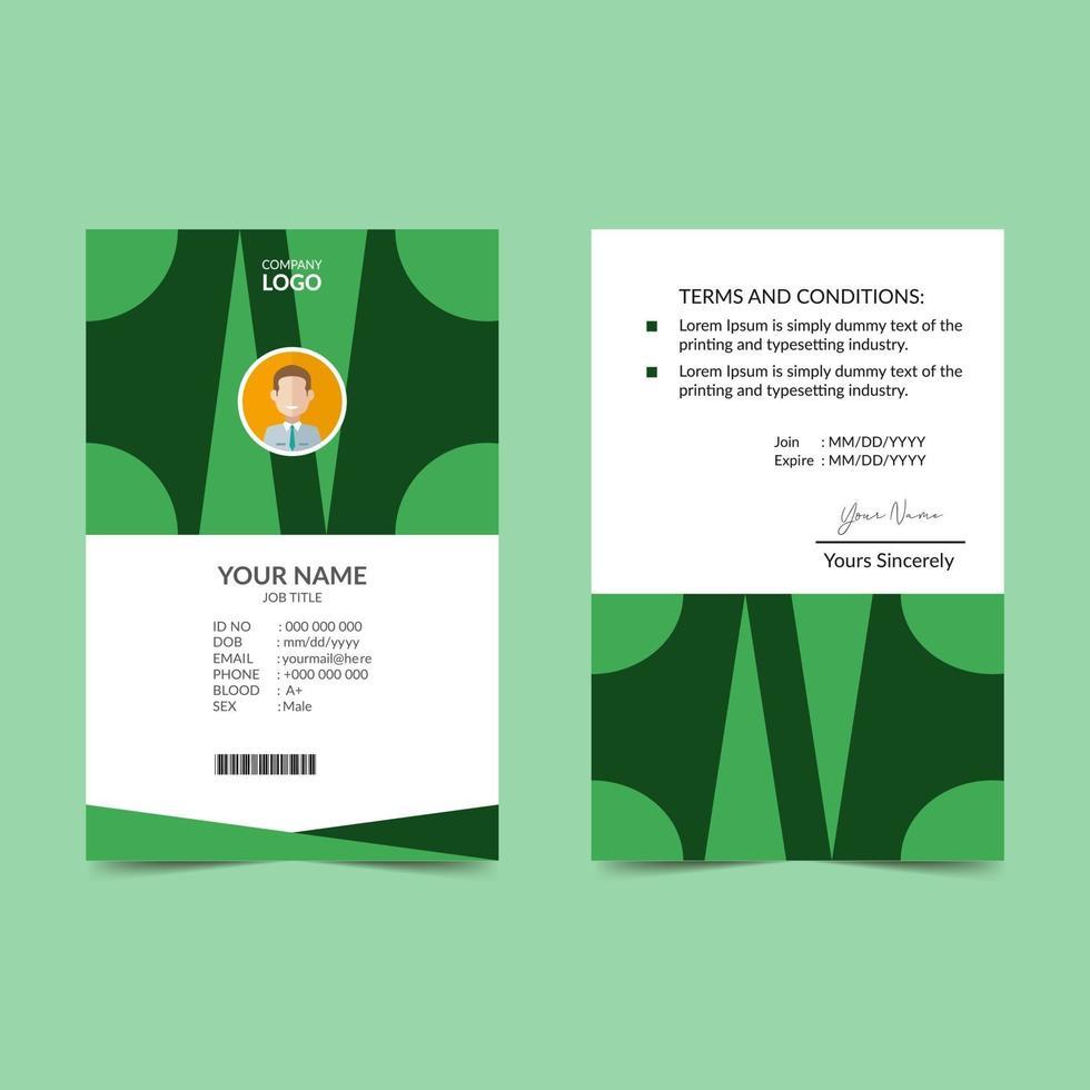 modello di progettazione verde carta d'identità elegante vettore