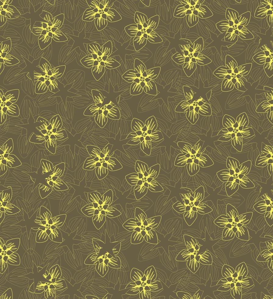 motivo floreale senza soluzione di continuità. sfondo di fiori. trama floreale senza soluzione di continuità con i fiori. fiorisce la carta da parati gialla piastrellata della primavera vettore