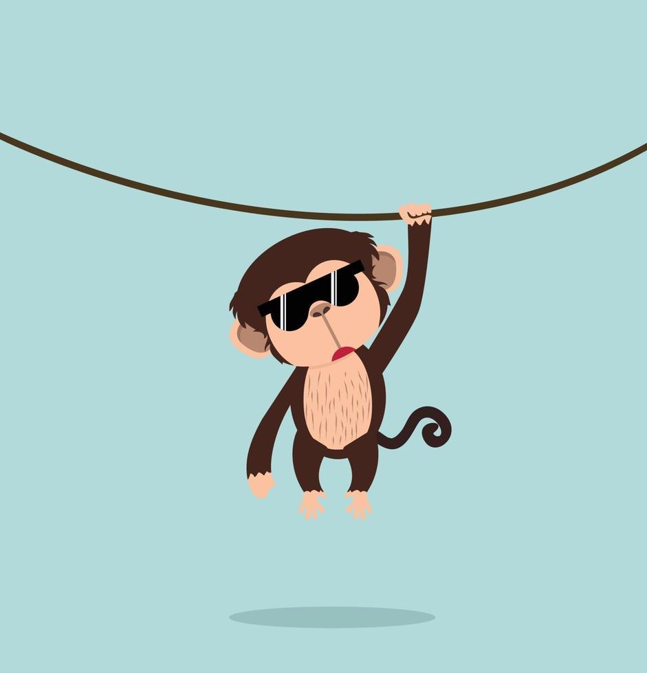 scimmia che scala il fumetto della vite vettore