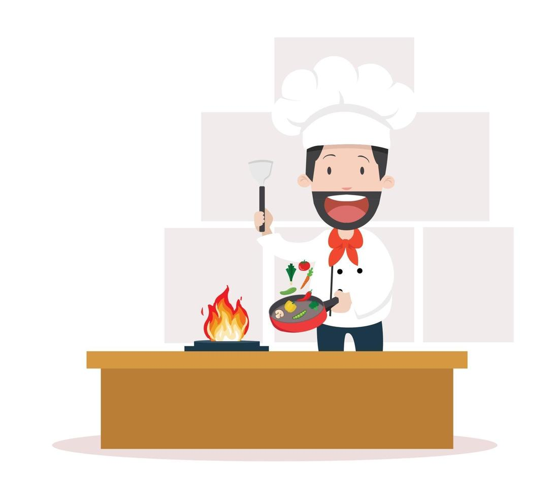 chef cucina pasto in cucina vettore