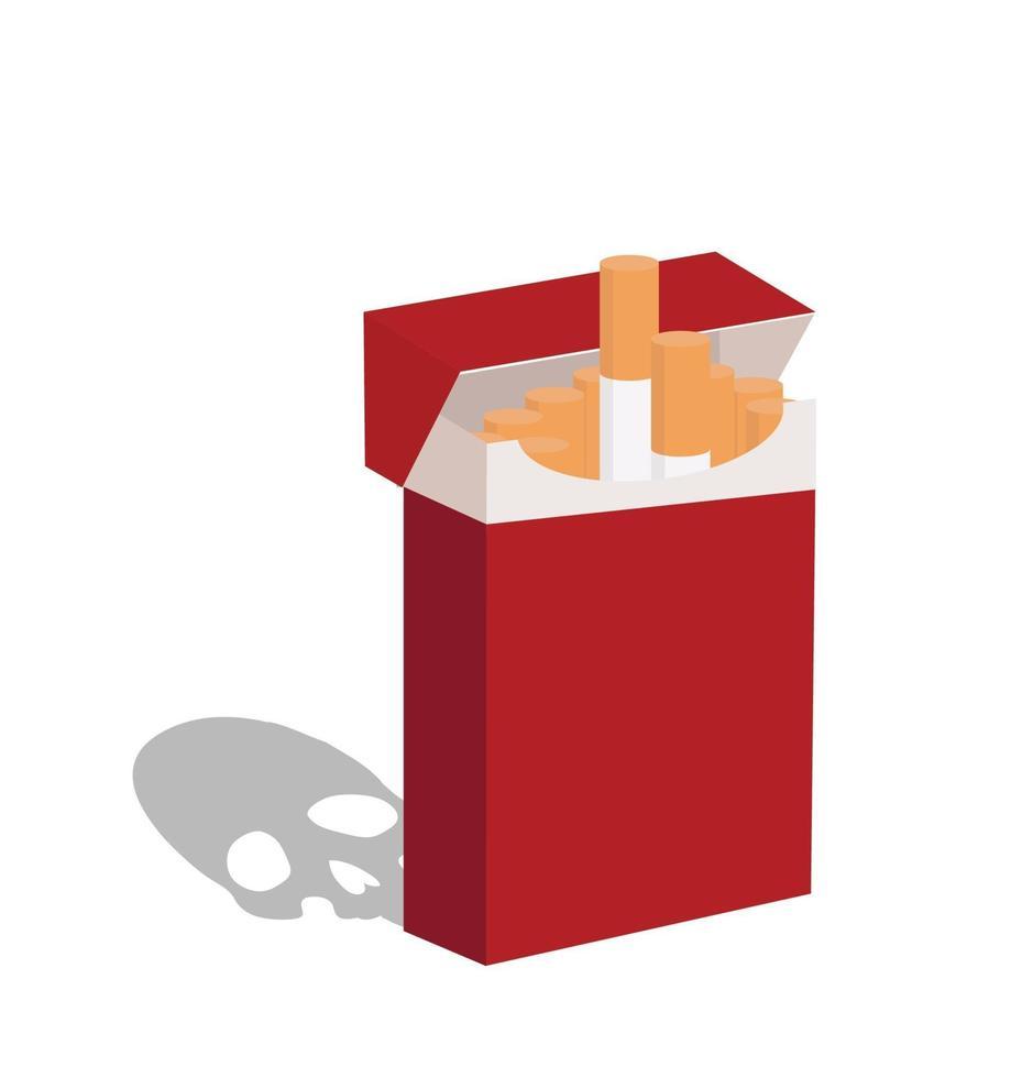 sigarette aperte in confezione rossa vettore