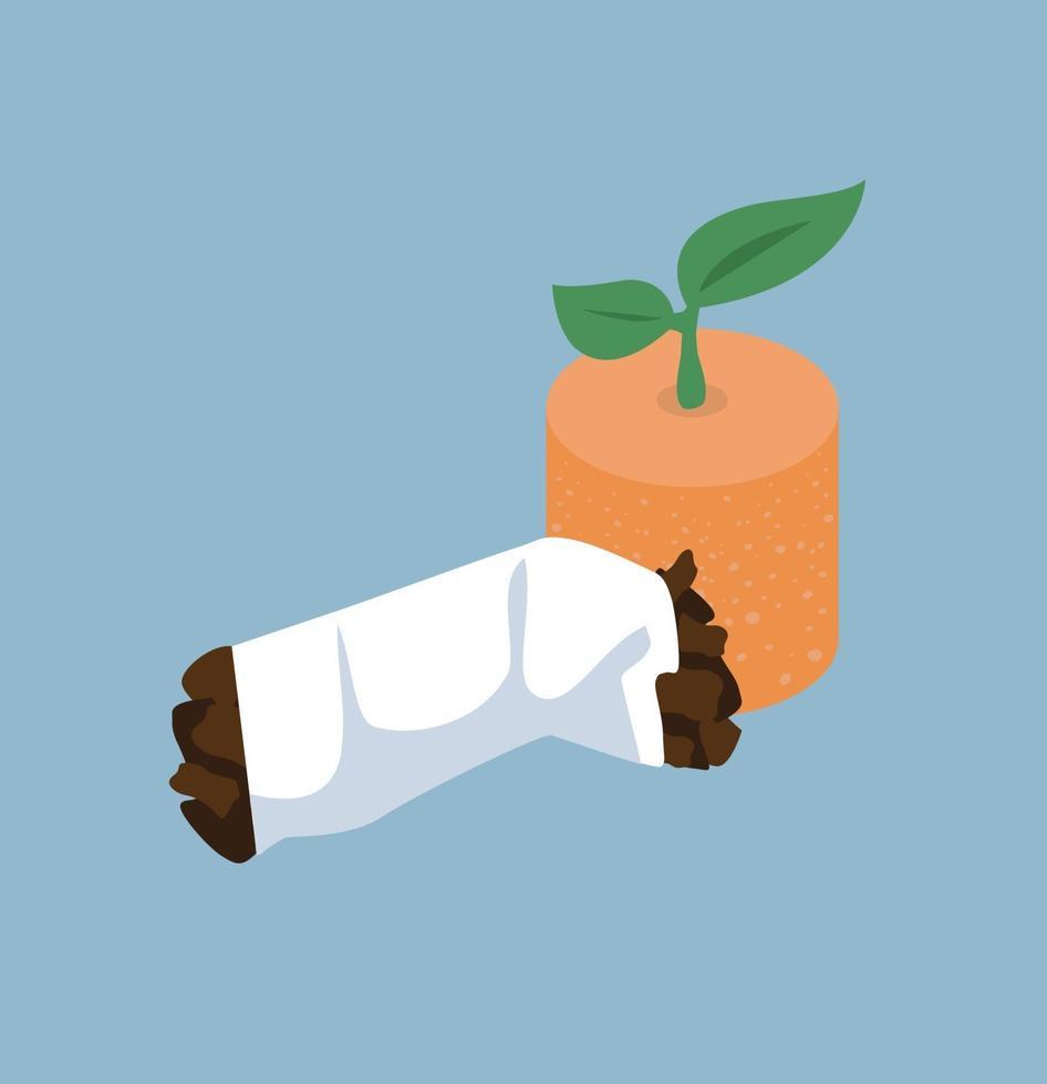 pianta fogliare nel mozzicone di sigaretta vettore