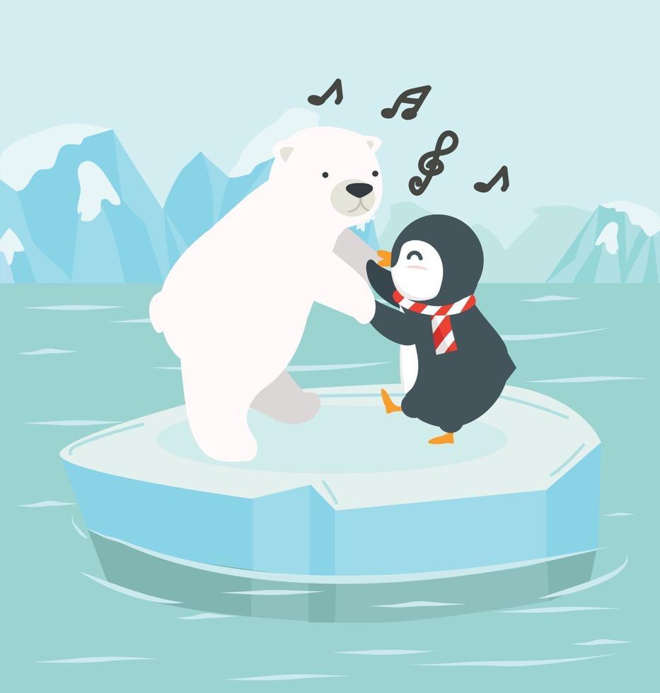 orso polare con pinguino su un iceberg all'Artico del Polo Nord vettore