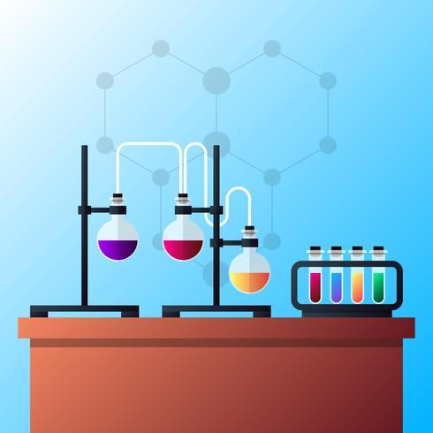 Illustrazione dell'apparecchiatura di chimica e del laboratorio di chimica vettore