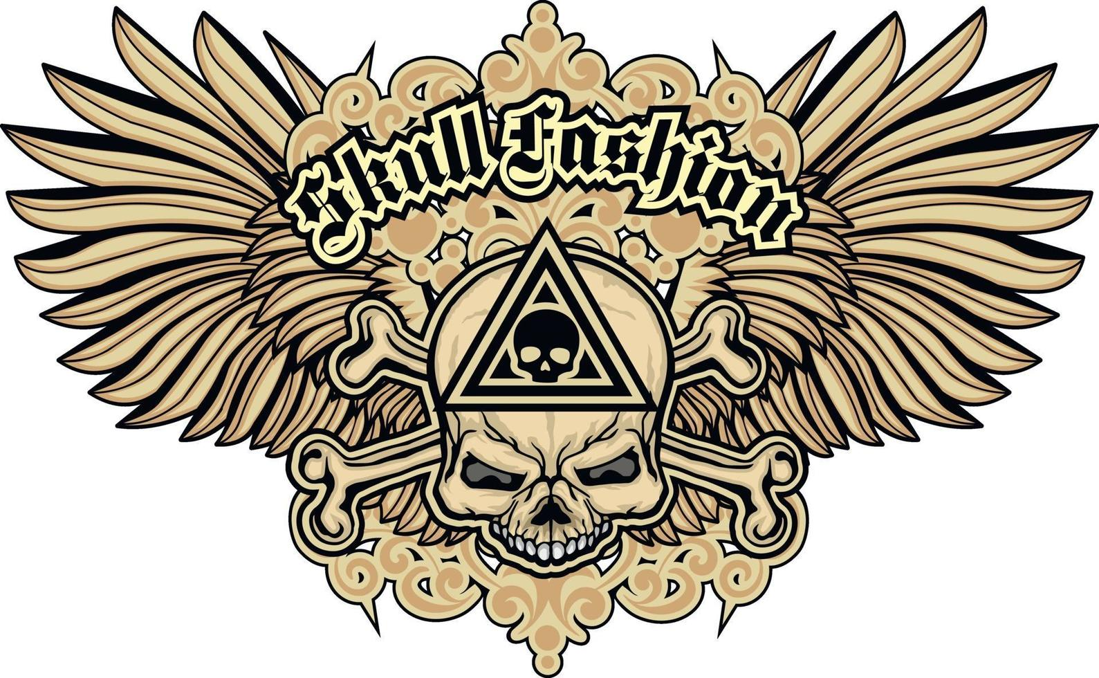 segno gotico con teschio e ali, magliette di design vintage grunge vettore