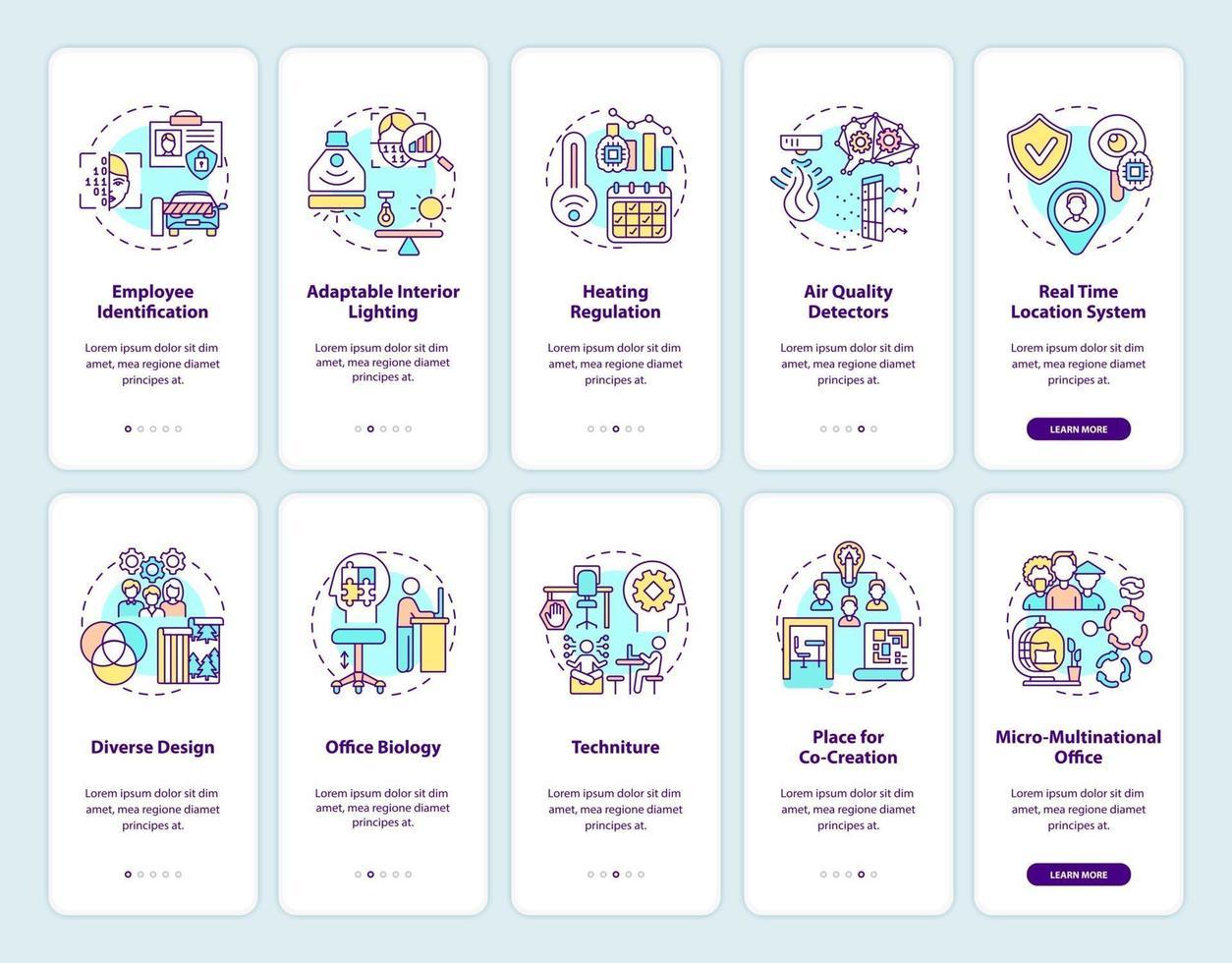 schermata della pagina dell'app mobile per la creazione di un ufficio intelligente con concetti impostati vettore