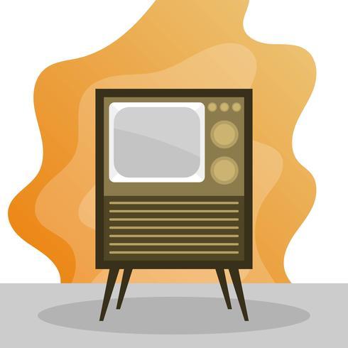 Retro televisione piana con l'illustrazione di vettore del fondo di pendenza