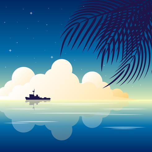 Paesaggio tropicale della spiaggia della siluetta delle palme della natura di vacanza di notte di tempo di estate dell'illustrazione di feste dell'isola di paradiso vettore