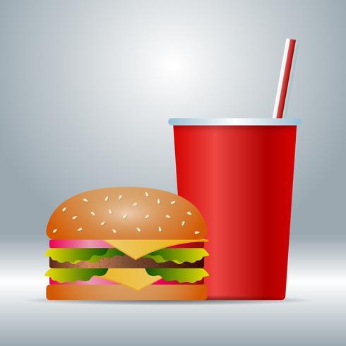 Icona realistica degli alimenti a rapida preparazione isolata sull'illustrazione del fondo vettore