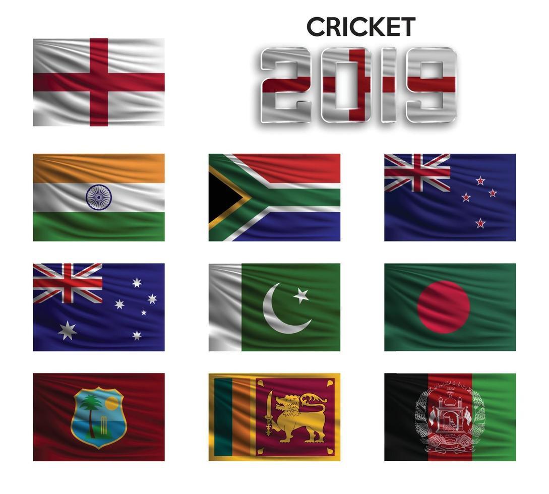coppa di cricket. set della bandiera nazionale della squadra su sfondo bianco. illustrazione vettoriale. vettore