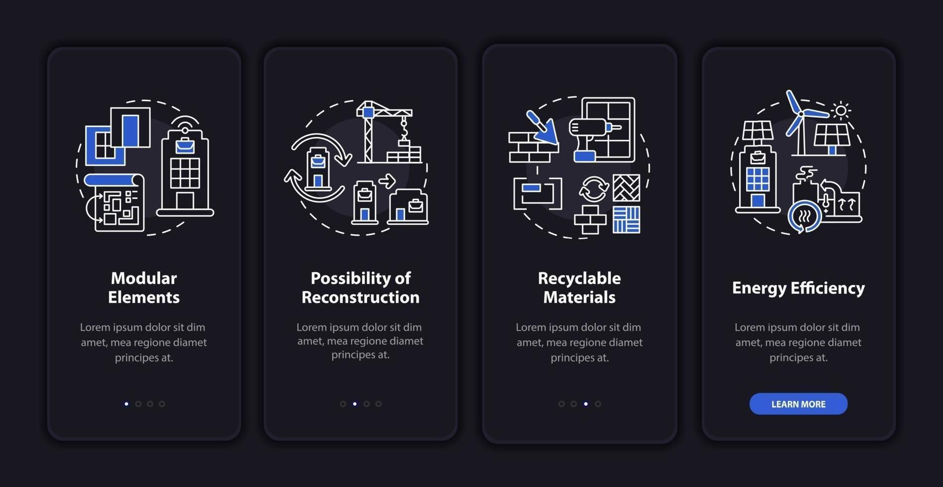 futuristico edificio per uffici onboarding schermata della pagina dell'app mobile con concetti vettore