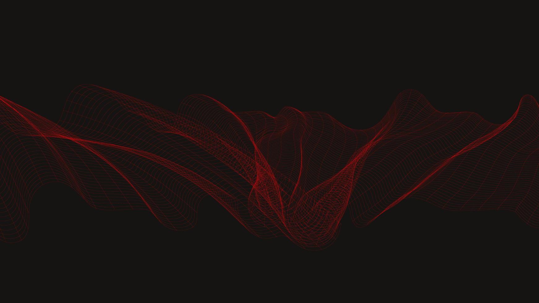 onda sonora digitale rossa su sfondo nero vettore