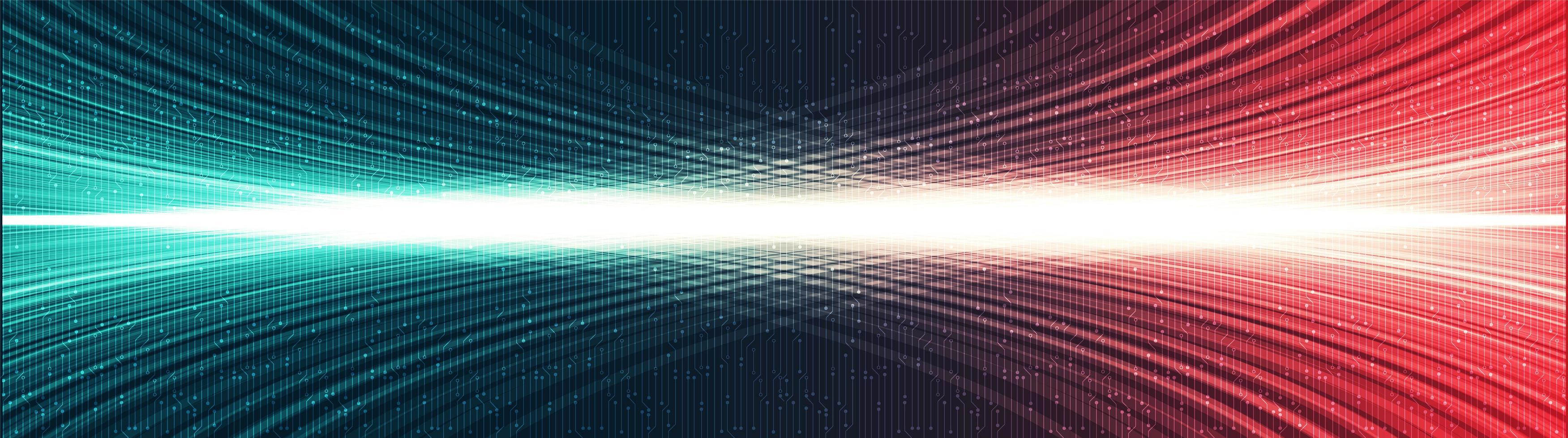 sfondo di tecnologia della luce digitale di panorama, design del concetto di onda sonora e digitale hi-tech, spazio libero per il testo inserito, illustrazione vettoriale
