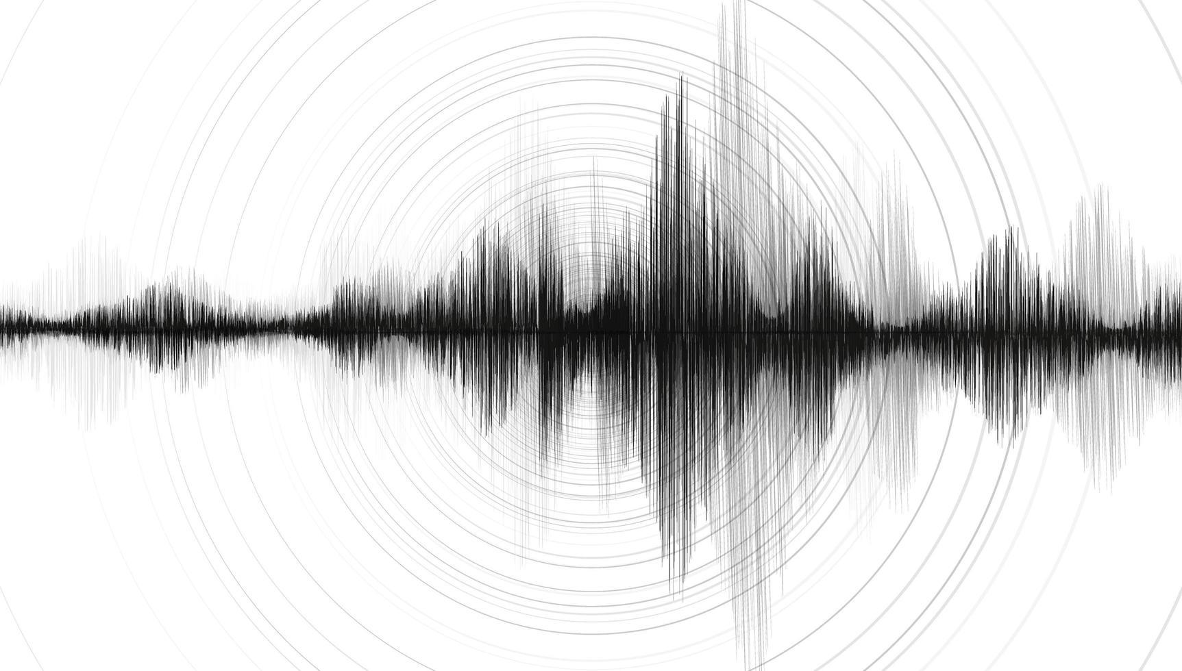 onda nera del terremoto con vibrazione del cerchio vettore