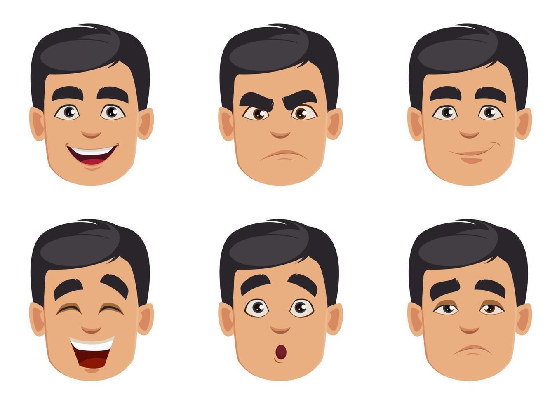 insieme di emozioni maschili. pacchetto di espressioni facciali vettore